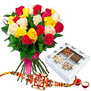 Dryfruits & Flowers-Rakhi with Assorted of Dry Fruits and Roses