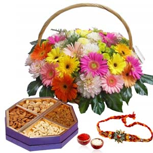 Dryfruits & Flowers-Rakhi and Floral Basket with Dry Fruit Box