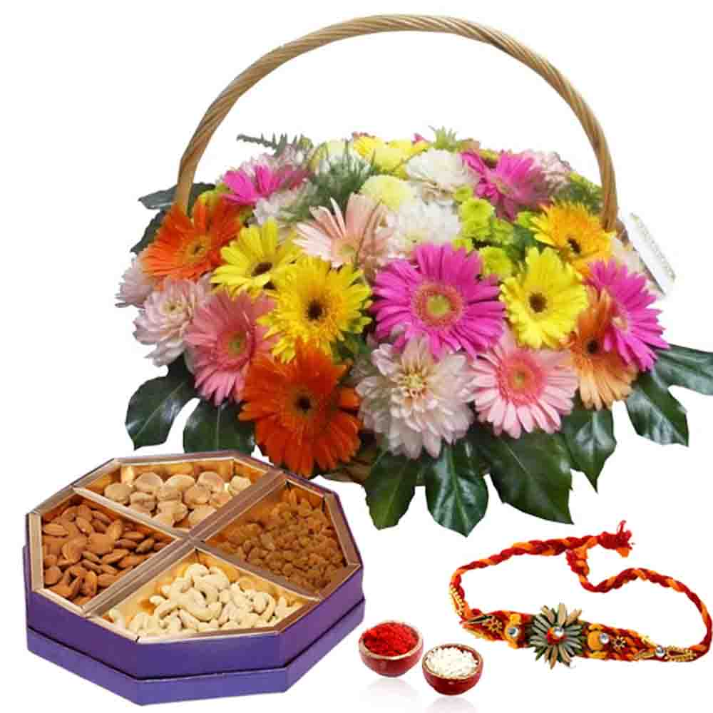 Rakhi and Floral Basket with Dry Fruit Box