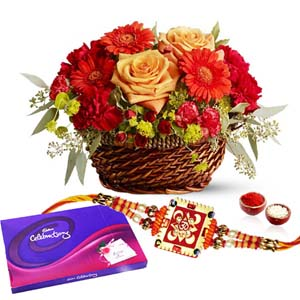Chocolates & Flowers-Flowers and Cadbury Celebration Chocolates Pack with Rakhi