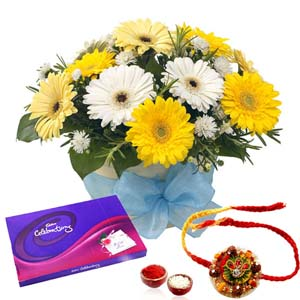 Chocolates & Flowers-Rakhi Combo of Gerberas and Celebration Chocolate Pack