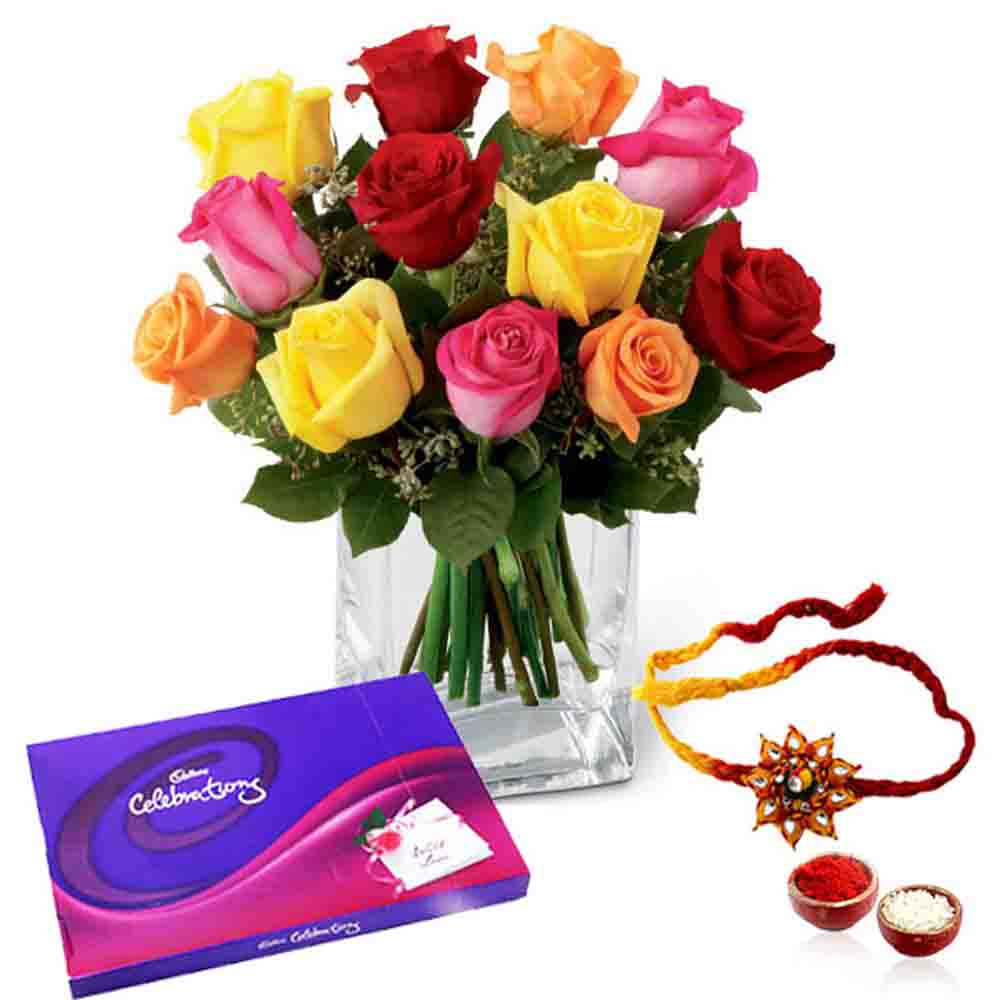 Mix Color Roses and Cadbury Celebration Chocolate Pack with Rakhi
