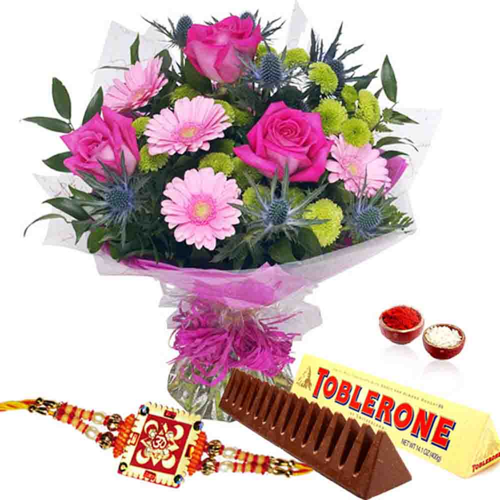 Bouquet of Pink Flowers with Toblerone Chocolate and Rakhi