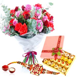 Mithai & Flowers-Lovely Roses and Sweet with Rakhi