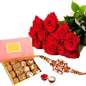 Mithai & Flowers-Rakhi Gift Pack of Red Roses with Assorted Sweet