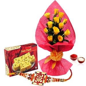 Mithai & Flowers-Soan Papdi with Yellow Roses and Rakhi