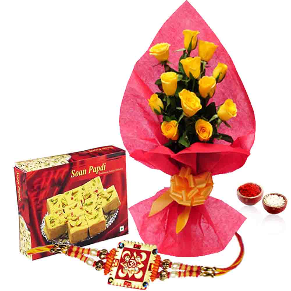 Soan Papdi with Yellow Roses and Rakhi