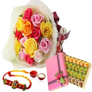 Mithai & Flowers-Rainbow Color Roses and Sweet with Rakhi