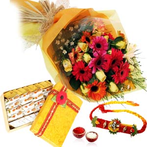 Mithai & Flowers-Rakhi and Bouquet of Flowers with Kaju Mix Sweets