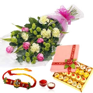 Mithai & Flowers-Flower Bouquet with Mix Sweet and Rakhi