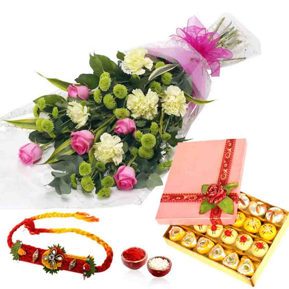 Flower Bouquet with Mix Sweet and Rakhi