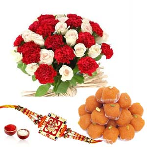 Mithai & Flowers-Flower Bouquet with Motichur Ladoo and Rakhi