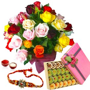 Mithai & Flowers-Rakhi with Assorted Kaju Sweets and Roses Bouquet