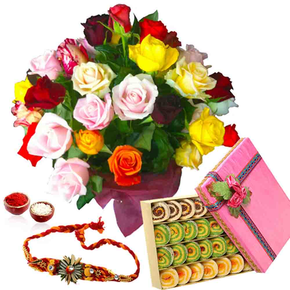 Rakhi with Assorted Kaju Sweets and Roses Bouquet