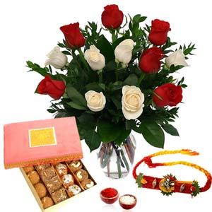 Mithai & Flowers-Loose Rakhi with Assorted Sweets and Roses Arrangement