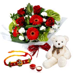Floral Hampers-Attractive Bouquet with Rakhi and Teddy Bear