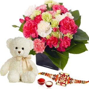 Floral Hampers-Teddy Bear with Mix Carnation and Rakhi