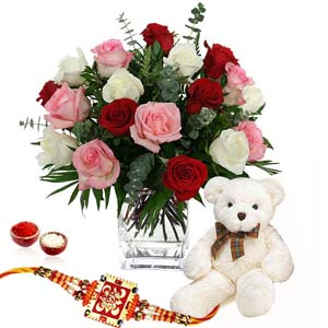 Floral Hampers-Rakhi with Teddy Bear and Roses Arrangement