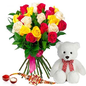 Floral Hampers-Mix Roses Bouquet with Teddy Bear and Rakhi