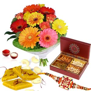 Floral Hampers-Dry Fruits and Sweets with Rakhi and Flowers