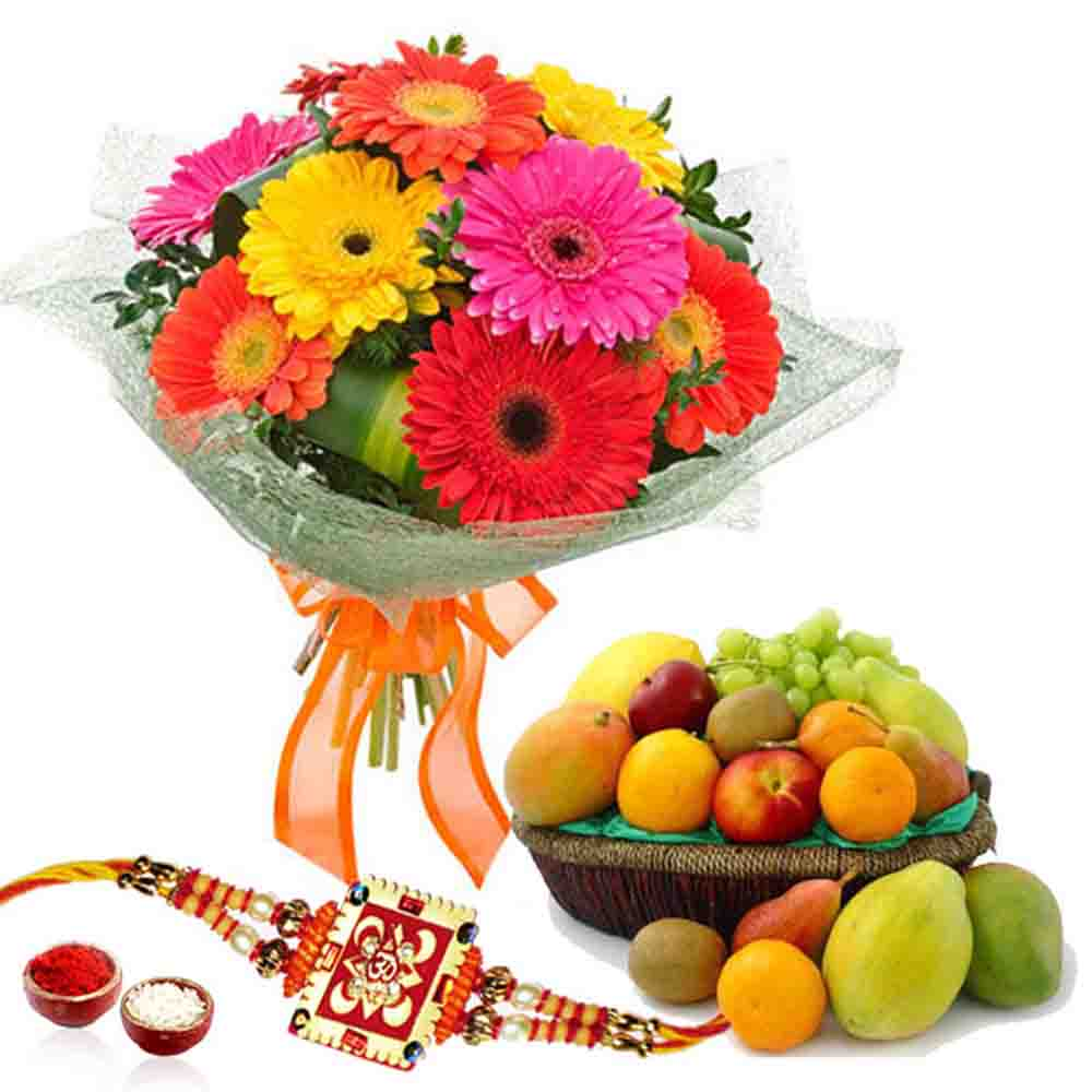 Flowers with Fruits-Fruits with Rakhi and Gerberas Bouquet