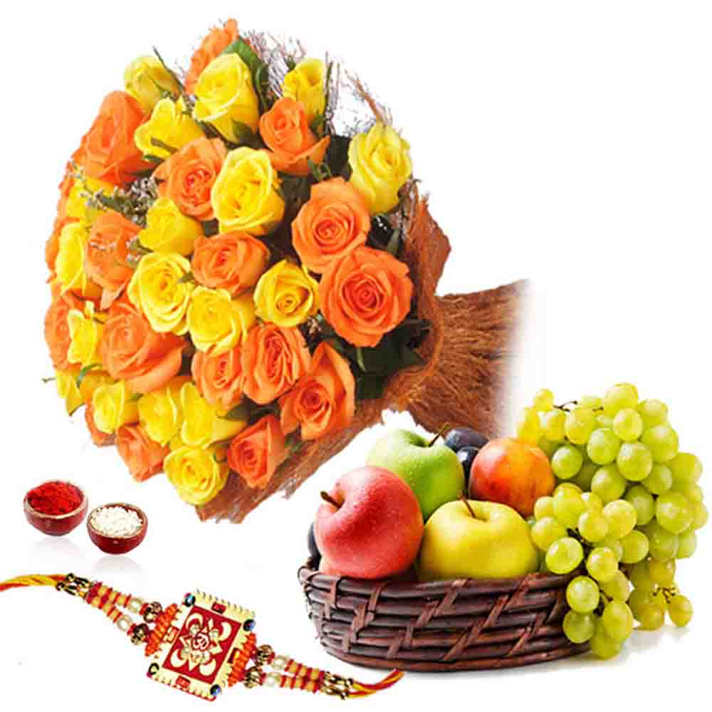 Flowers with Fruits-Roses Bouquet and Fruits with Rakhi
