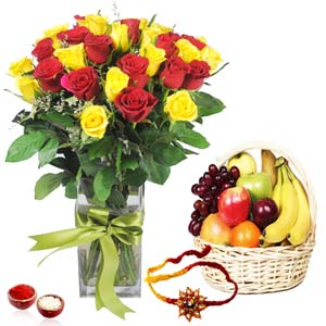 Flowers with Fruits-Roses Arrangement with Fruits and Rakhi