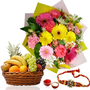 Flowers with Fruits-Rakhi with Fruits Basket and Flowers Bouquet