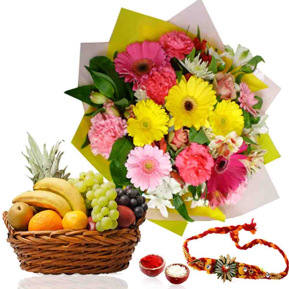 Rakhi with Fruits Basket and Flowers Bouquet