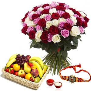 Flowers with Fruits-Roses with Fruits and Rakhi