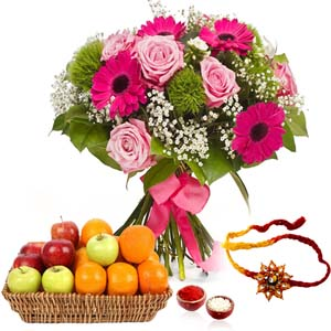 Flowers with Fruits-Flower Bouquet with Mix Fruits and Rakhi