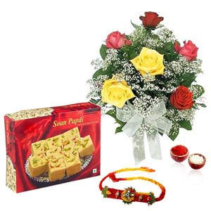 Mithai & Flowers-Soan Papdi with Roses and Rakhi
