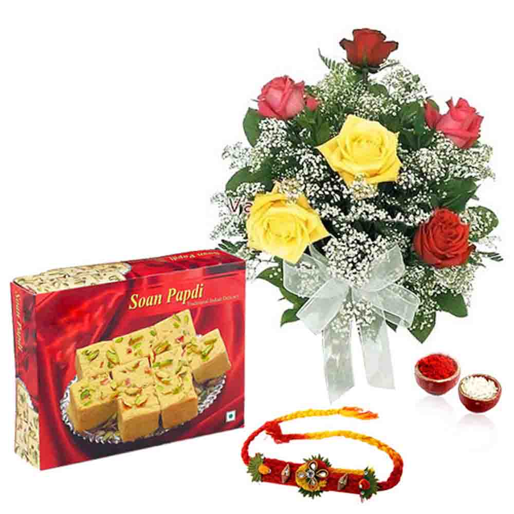 Soan Papdi with Roses and Rakhi