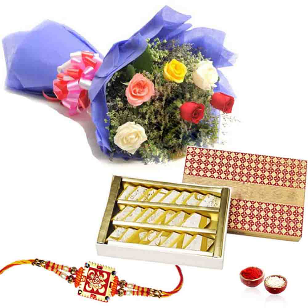 Rakhi Gift with Kaju Katli and Roses Bouquet