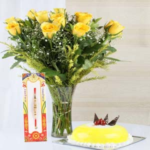 Cakes & Flowers-Pineapple Cake with Yellow Roses and Rakhi