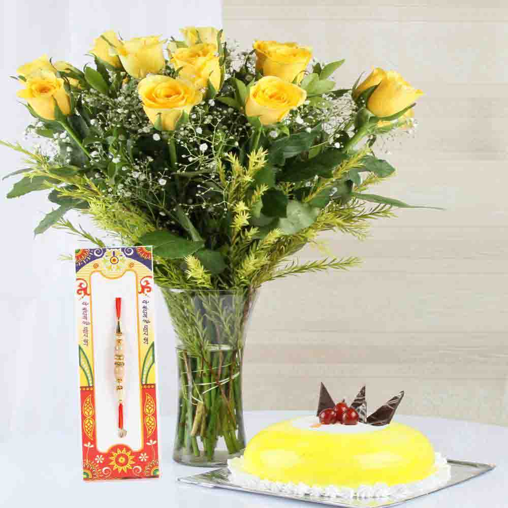 Pineapple Cake with Yellow Roses and Rakhi