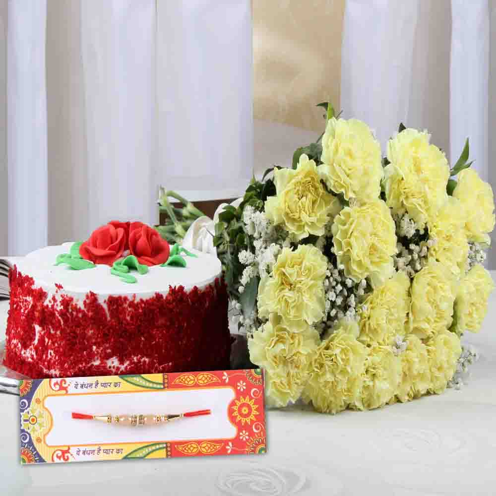 Designer Rakhi with Carnation Bouquet and Cake