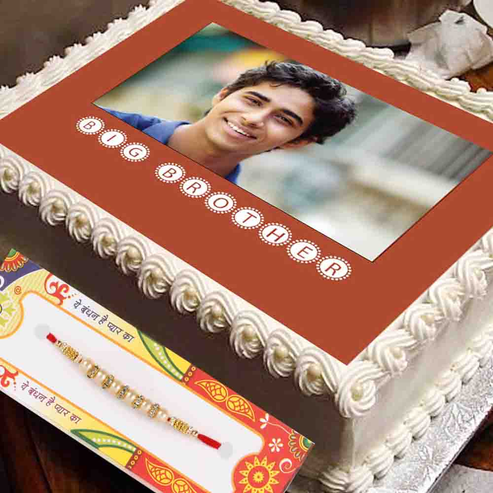Brother Photo Cake with Rakhi Gift