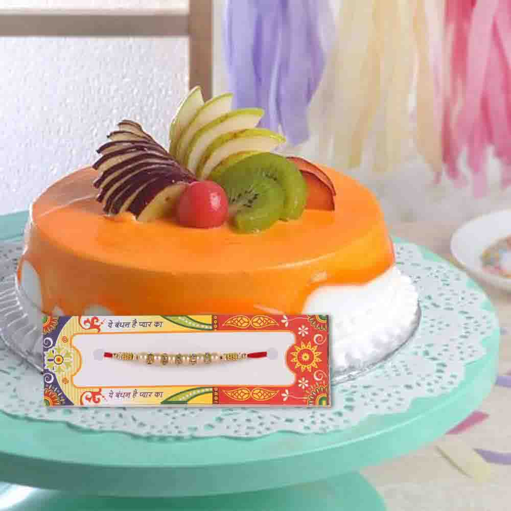 Mix Fruit Cake with Designer Rakhi