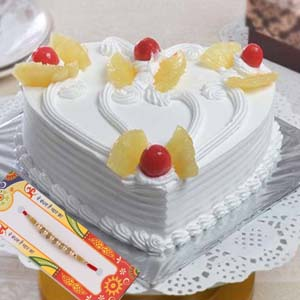 Cakes-Attractive Rakhi with Pineapple Cake