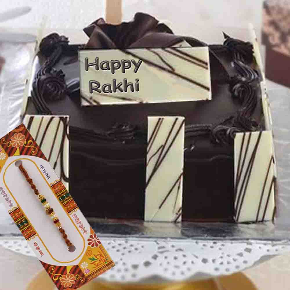Dark Truffle Chocolate Cake with Rakhi