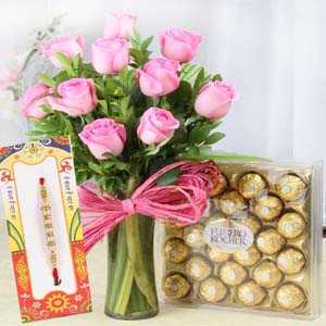 Chocolates & Flowers-Pink Roses with Ferrero Rocher Chocolate and Rakhi