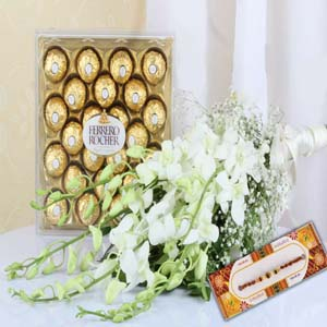 Chocolates & Flowers-Ferrero Rocher Chocolate with White Orchids Bouquet and Rakhi
