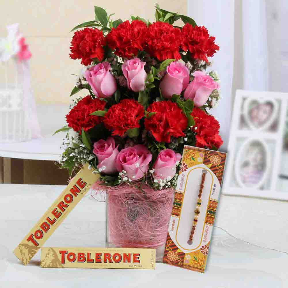 Flowers Arrangement with Chocolate and Rakhi