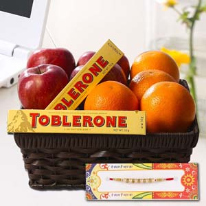 Floral Hampers-Healthy Fruits Basket and Chocolate with Rakhi
