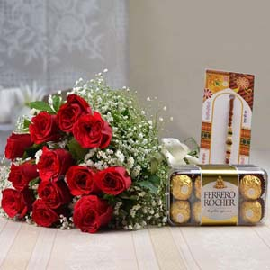 Chocolates & Flowers-Red Roses Bouquet with Ferrero Rocher Chocolate and Rakhi