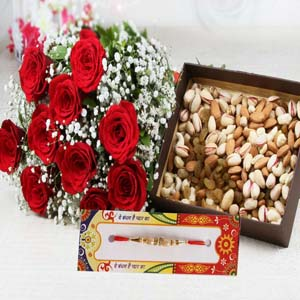 Dryfruits & Flowers-Rakhi with Assorted Dry Fruits and Roses Bouquet