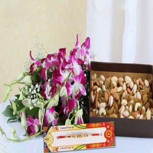 Dryfruits & Flowers-Rakhi with Dry Fruits and Orchids Bouquet