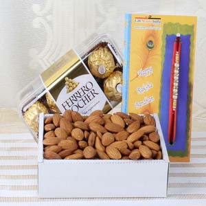 Floral Hampers-Almond with Ferrero Rocher Chocolate and Rakhi