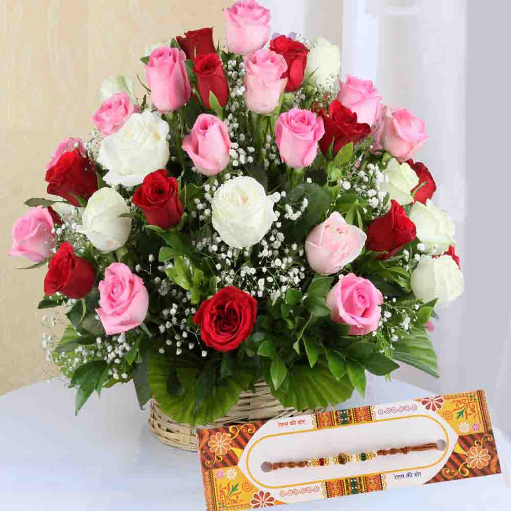 Designer Rakhi and Mix Roses Arrangement